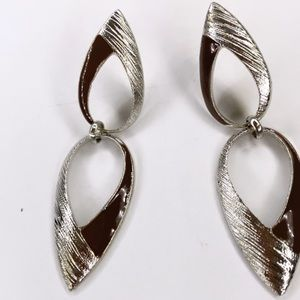 High fashion silver and brown dangle earrings